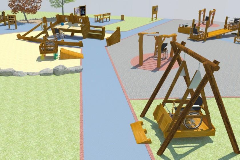 Playground for children on wheelchair